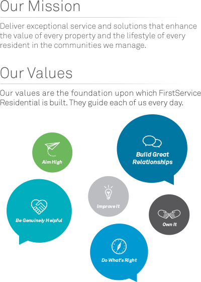 FirstService Resiudential Values and Mission